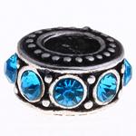 Beads European aliazh zink, Alloy zink, Rondelle, pa karrem & me diamant i rremë, uji blu, , nikel çojë \x26amp; kadmium falas, 12x6mm, : 5mm, 10PC/Qese,  Qese