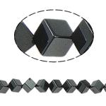 Nicht-magnetische Hämatit Perlen, Non- magnetische Hämatit, Würfel, schwarz, Grade A, 6x6mm, Bohrung:ca. 1.5mm, Länge:15.5 ZollInch, 10SträngeStrang/Menge, verkauft von Menge