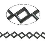 Nicht-magnetische Hämatit Perlen, Non- magnetische Hämatit, Rhombus, schwarz, Grade A, 14x14x4mm, Bohrung:ca. 1.5mm, Länge:15.5 ZollInch, 10SträngeStrang/Menge, verkauft von Menge