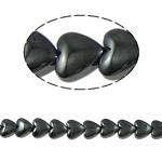 Nicht-magnetische Hämatit Perlen, Non- magnetische Hämatit, Herz, schwarz, Grade A, 10x3mm, Bohrung:ca. 1mm, Länge:15.5 ZollInch, 10SträngeStrang/Menge, verkauft von Menge