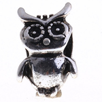 Beads European aliazh zink, Alloy zink, Buf, Ngjyra antike argjendi praruar, pa karrem, , nikel çojë \x26amp; kadmium falas, 14x9x8mm, : 5mm, 10PC/Qese,  Qese