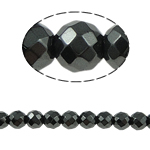 Nicht-magnetische Hämatit Perlen, Non- magnetische Hämatit, rund, schwarz, Grade A, 8x8mm, Bohrung:ca. 1.5mm, Länge:15.5 ZollInch, 10SträngeStrang/Menge, verkauft von Menge
