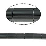 Magnetische Hämatit Perlen, Rohr, schwarz, Grade A, 8x12mm, Bohrung:ca. 1.5mm, Länge:15.5 ZollInch, 10SträngeStrang/Menge, verkauft von Menge