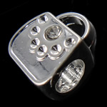 Beads European aliazh zink, Alloy zink, Bllokohet, pa karrem & me diamant i rremë, , nikel çojë \x26amp; kadmium falas, 9x11x7mm, : 4.5mm, 10PC/Qese,  Qese