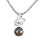 Akoya kulturuar Pearl gjerdan, Perlat Akoya kulturuar, Round, Ngjyra argjend praruar, e zezë, AAA, 14mm, :15.5Inç,  15.5Inç,