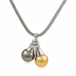Akoya kulturuar Pearl gjerdan, Perlat Akoya kulturuar, with Kub kub & 925 Sterling Silver, Round, natyror, AAA, 12-13mm, 26x33mm, :15.5Inç,  15.5Inç,