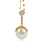 Akoya kulturuar Pearl gjerdan, Perlat Akoya kulturuar, with Kub kub & Gold 14K, Round, natyror, e bardhë, AAA, 15mm, :17.5Inç,  17.5Inç,