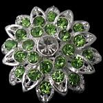 Karficë zbukurimi diamant i rremë, Lule, me diamant i rremë, argjend, 29x29mm, 10PC/Qese,  Qese