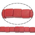 Beads Natyrore Coral, Coral sintetike, Kub, asnjë, i kuq, 4.50x4.50x4.50mm, : 1mm, : 15Inç, 94PC/Fije floku,  15Inç,