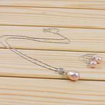 Natyrore kulturuar Pearl ujërave të ëmbla bizhuteri Sets, Pearl kulturuar ujërave të ëmbla, with Diamant i rremë & 925 Sterling Silver, Round, natyror, rozë, 8-9mm, 11-12mm, :18.5Inç,  I vendosur