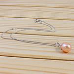 925 Sterling Silver gjerdan perlash, Pearl kulturuar ujërave të ëmbla, with 925 Sterling Silver, Oval, natyror, rozë, 11-12mm, :15.5Inç,  15.5Inç,