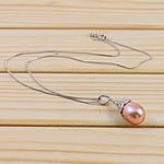 925 Sterling Silver gjerdan perlash, Pearl kulturuar ujërave të ëmbla, rozë, 11-12mm, :15.5Inç,  15.5Inç,
