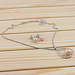 Natyrore kulturuar Pearl ujërave të ëmbla bizhuteri Sets, Pearl kulturuar ujërave të ëmbla, with 925 Sterling Silver, Round, natyror, rozë, 23x34mm, 11-12mm, :15.5Inç,  I vendosur