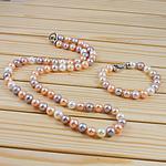 Natyrore kulturuar Pearl ujërave të ëmbla bizhuteri Sets, Pearl kulturuar ujërave të ëmbla, Round, natyror, ngjyra të përziera, 9-10mm, :6Inç,  23.5Inç,  I vendosur