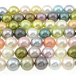 Detit të Jugut Beads Shell, Jug Deti Shell, Round, asnjë, ngjyra të përziera, 10mm, : 0.8mm, : 16Inç, 5Fillesat/Qese,  Qese