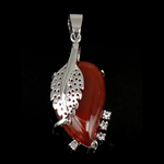 Pendants Red agat, Gjethe, 35x17x6mm, : 7mm, 10PC/Qese,  Qese