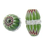 Millefiori Glass Beads, Oval, me diamant i rremë, e gjelbër, 13x7.50mm, : 1mm, 10PC/Qese,  Qese