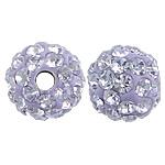 Tschechische Strass Perlen, Lehm pflastern, rund, mit 50 Stück Strass & mit tschechischem Strass, violett, 6mm, Bohrung:ca. 1mm, 10PCs/Tasche, verkauft von Tasche