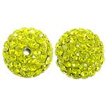 Çekë Beads diamant i rremë, Round, asnjë, me diamant i rremë, Ngjyrë e verdhë, PP13, 12mm, : 2mm, 10PC/Qese,  Qese