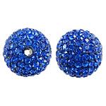 Çekë Beads diamant i rremë, Round, asnjë, me diamant i rremë, Dark Sapphire, PP13, 14mm, : 2mm, 10PC/Qese,  Qese