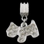 Zink Alloy European Pendants, Alloy zink, Kafshë, ngjyrë platin praruar, me diamant i rremë, asnjë, , nikel çojë \x26amp; kadmium falas, 26mm, 19x14x2.5mm, : 5mm, 100PC/Qese,  Qese