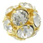 Beads bizhuteri Diamant i rremë, Round, asnjë, me diamant i rremë, Kristal, 12x12mm, : 1.5mm, 50PC/Qese,  Qese