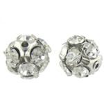 Beads bizhuteri Diamant i rremë, Round, asnjë, me diamant i rremë, Kristal, 11x11mm, : 1.2mm, 100PC/Qese,  Qese