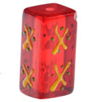 Krishtlindjeve Glass Beads, Xham, Drejtkëndësh, brushwork, 20x10mm, : 1.5mm,  PC