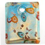 Lampwork Millefiori Fetë Pendants, Drejtkëndësh, pluhur ari, 44x35x8.50mm, : 5.5mm, 10PC/Qese,  Qese