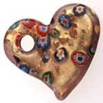 Lampwork Millefiori Fetë Pendants, Zemër, rërë ari, 50.50x47x8mm, : 8.5mm, 10PC/Qese,  Qese