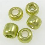 Silbereinzug Glas Rocailles, Glas-Rocailles, grün, 2x1.90mm, Bohrung:ca. 1mm, verkauft von Tasche