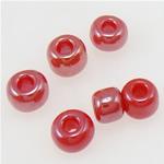 Rainbow Seed Glass Beads, i kuq, 2x1.90mm, : 1mm,  Qese