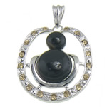 Pendants Zi agat, Black agat, me diamant i rremë, 36.70x45.50x8mm, : 10.8x6mm, 10PC/Qese,  Qese