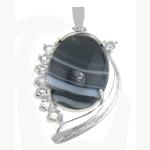 Pendants Zi agat, Black agat, me diamant i rremë, 26x42x10.30mm, : 7.3x4.5mm, 10PC/Qese,  Qese