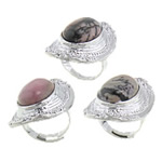 Ring Finger gur i çmuar, Rodoniti, 20x37mm, 19mm, :7, 10PC/Qese,  Qese