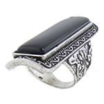 Ring Finger gur i çmuar, Black agat, 22.5x51.5mm, 19mm, :8, 10PC/Qese,  Qese