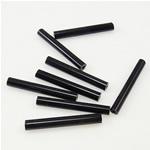 Opake Glas Rocailles, Glas-Rocailles, Rohr, schwarz, 3.50x25mm, Bohrung:ca. 1mm, verkauft von Tasche
