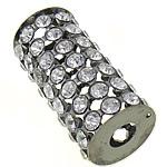 Strass Schmuckperlen, Messing, Zylinder, metallschwarz plattiert, mit Strass & hohl, 32.50x15mm, Bohrung:ca. 6mm, 20PCs/Tasche, verkauft von Tasche