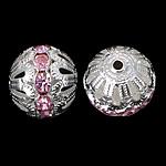 Beads Hollow tunxh, Round, Ngjyra argjend praruar, asnjë, , nikel çojë \x26amp; kadmium falas, 16x17mm, : 2.2mm, 100PC/Qese,  Qese