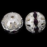 Messing hohle Perlen, rund, silberfarben plattiert, mit Strass, frei von Nickel, Blei & Kadmium, 16x17mm, Bohrung:ca. 2.2mm, 100PCs/Tasche, verkauft von Tasche
