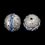 Messing hohle Perlen, Trommel, silberfarben plattiert, mit Strass, frei von Nickel, Blei & Kadmium, 16x17mm, Bohrung:ca. 2.2mm, 100PCs/Tasche, verkauft von Tasche