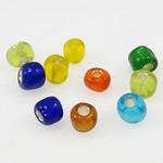 Silbereinzug Glas Rocailles, Glas-Rocailles, gemischte Farben, 3x3.60mm, Bohrung:ca. 1mm, verkauft von Tasche