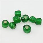 Silbereinzug Glas Rocailles, Glas-Rocailles, rund, grün, 3x3.60mm, Bohrung:ca. 1mm, verkauft von Tasche