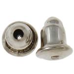 Iron Komponenti veshit Nut, Hekur, ngjyrë platin praruar, asnjë, , nikel çojë \x26amp; kadmium falas, 6x5mm, : 1mm, 10000PC/Qese,  Qese