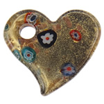 Lampwork Millefiori Fetë Pendants, Zemër, pluhur ari, 50.50x45x7.50mm, : 8mm, 10PC/Qese,  Qese