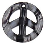 Pendants Silver Lampwork petë, Round Flat, petë argjendi, 49x7mm, : 3.5mm, 10PC/Qese,  Qese