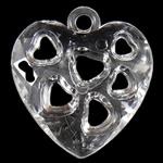 Acryl Anhänger, Herz, transluzent, 24.50x26.50x7mm, Bohrung:ca. 3mm, ca. 380PCs/Tasche, verkauft von Tasche