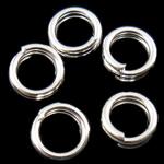 Unaza Hekuri Split, Petull e ëmbël në formë gjevreku, Ngjyra argjend praruar, asnjë, , nikel çojë \x26amp; kadmium falas, 4x1mm, : 3mm, 21275PC/Qese,  Qese