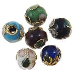 Beads filigran Cloisonne, Round, asnjë, 14mm, : 2.5mm, 100PC/Qese,  Qese