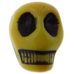 Antike Acrylperlen, Acryl, Schädel, opark, antik imitieren, gelb, 12.50x10x12mm, Bohrung:ca. 2mm, 595PCs/Tasche, verkauft von Tasche